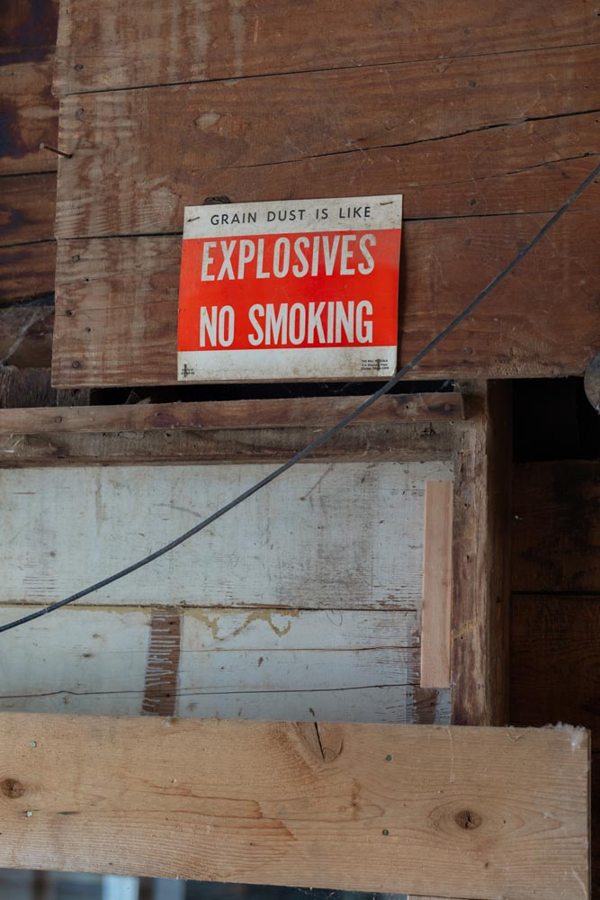 Old warning sign inside of the Historic Hayden Granary.
