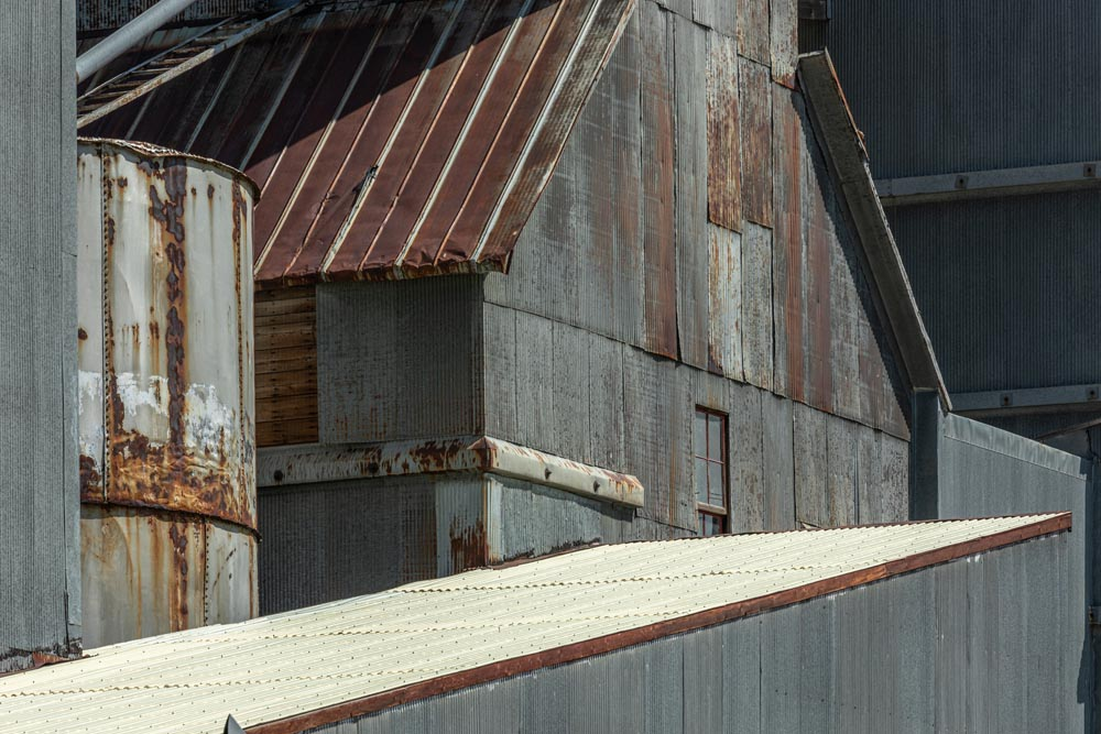 Detail shots of metal siding on the Historic Hayden Granary.